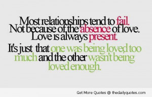 Most Relationships Tend To Fail Not Because Of The Absence Of Love