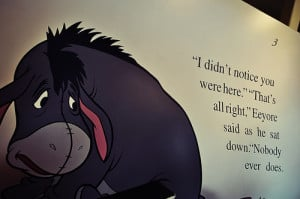 alone, aww, cute, disney, eeyore, quote, sad quote