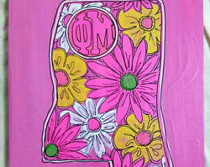 Colorful Sorority canvases. Sorority houses, quotes, and mascots