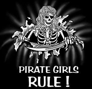 funny pirate girls rule skull skeleton t shirt sp22 ebay