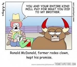 Funny photos funny Ronald McDonalds cow