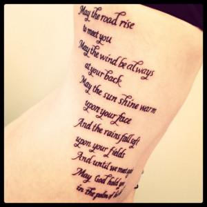Old Irish benediction  memorial tattoo.