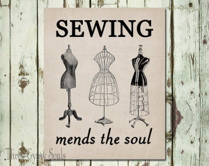 Sewing Mends the Soul Wall Art Printable Sewing Wall Decor Sewing Wall ...