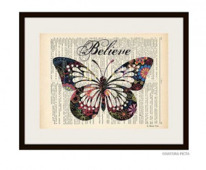 Believe colorful butterfly quote dictionary print by naturapicta, $7 ...