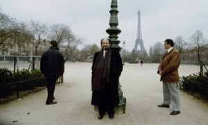 Salman Rushdie in Paris, with bodyguards, 1993. Photograph: Micheline ...