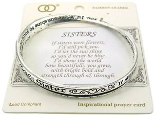 ... SISTERS Rhodium silver plated inspirational quotes Bangle Bracelet