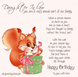 Free Birthday Cards For Daughter In Law You are a very special part of ...