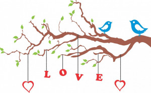Wall Decals and Stickers – Birds in Branch Hanging Love