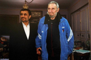 The former Cuban President, Fidel Castro (right), with Iranian ...