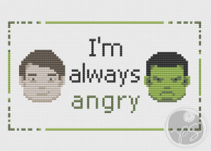 Embroidery: Bruce Banner Hulk quote