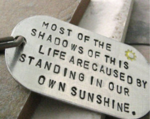 Emerson Quote Key Chain, Standing in Your Own Sunshine, rounded ...