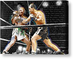 ... Rocky Marciano V Jersey Joe Walcott Quotes Canvas Print by Tony Rubino