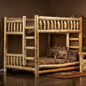 Log Queen Over Queen Bunk Bed