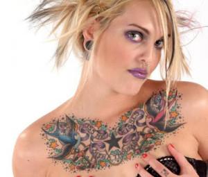 chest tattoo women chest tattoo piercing women chest tattoo women ...