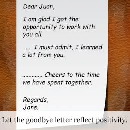 Goodbye letter for coworkers example