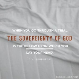 When you go through a trial, the sovereignty of God is the pillow upon ...