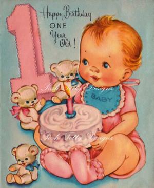 Happy Birthday One Year Old Vintage Digital Download Printable Images ...