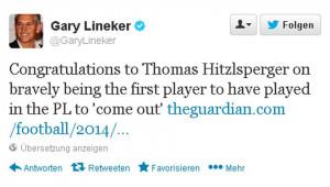 Tweet von Gary Lineker zum Coming-Out von Thomas Hitzlsperger