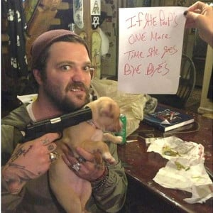 Bam Margera Holds A Gun To His Puppy's Head (Photo)