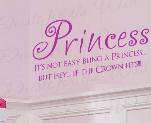 Princess If the Crown Fits Girl Wall Decal Quote