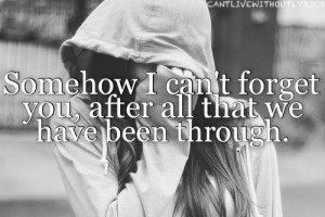 Somehow I can't forget you, after all that we have been through.