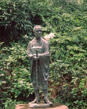 Tượng thiền sư Matsuo Basho ở Hiraizumi, Iwate.