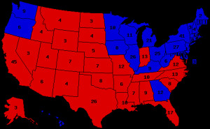 Presidential election results map. Red denotes states won by Reagan ...