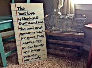 Love quote on Notebook paper wood sign Quote by RusticBarndecor, $45 ...