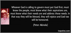 Whoever God is calling to govern must put God first, must know the ...
