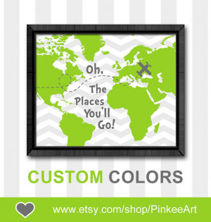 Dr seuss quote print boy nursery decor oh the places you will go map ...