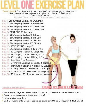 Exercise Quotes And Sayings Level 1 Exercise Plan