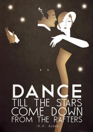 ... Bauhaus Poster Print, Vintage Dance Tango Themed, W.H. Auden Quote