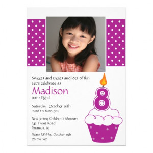 ... with a big number eight birthday candle photo birthday invitation