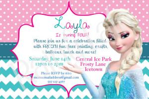 Disney Frozen Printable Birthday Party Invitation Invite: polka dot ...
