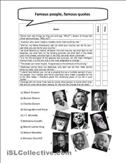 Famous people, famous quotes worksheet - Free ESL printable worksheets ...