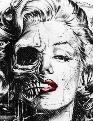 death, hair, lips, marilyn monroe, red