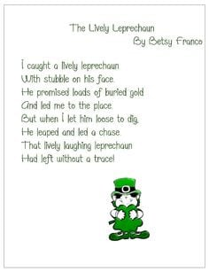 The Lively Leprechaun poem for St. Patrick's Day. Free Printable ...