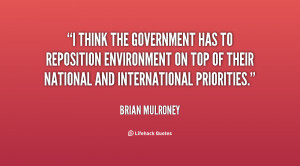 think the government has to reposition environment on top of their ...