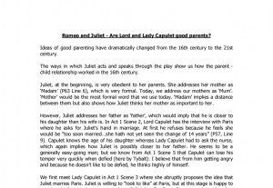 Romeo and Juliet - Are Lord and Lady Capulet good parents?