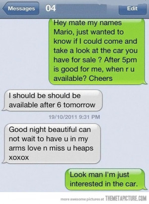 funny text message car sale wrong number