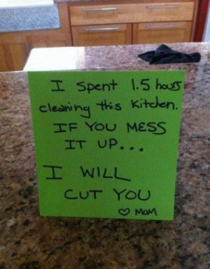 cleaning, funny, mom, mother, note