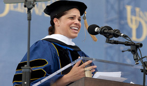 Soledad O'Brien delivering the commencement address at the University ...