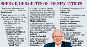 ... joins Confucius and Oscar Wilde in latest Oxford Dictionary of Quotes