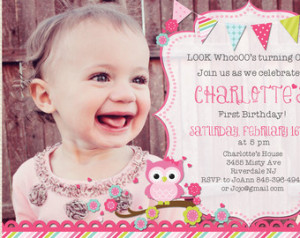 Look Who's turning One Owl birthday invitation First birthday