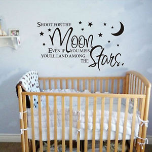 Details about SHOOT FOR THE MOON STARS Words Quote Baby Room Nursery ...