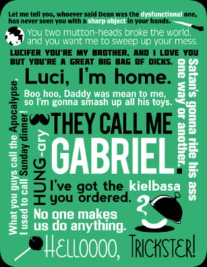 sarufish supernatural gabriel quotes also available here in shirt form ...