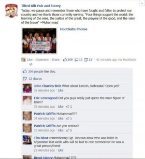 The Tilted Kilt immediately took down the quote & issued an apology. I ...