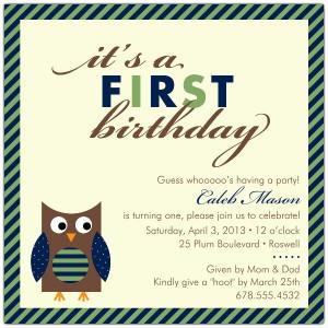 1st Birthday Invitation Wording For Baby Boy Baby owl blue first ...