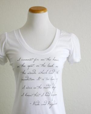 Pride and Prejudice- Mr. Darcy Quote Tshirt - Women's White Literary ...
