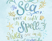 ... Once It Casts Its Spell of Wonder - Jacques Cousteau Quote - Art Print